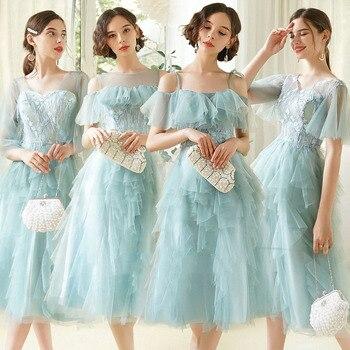 New Mid-length Elegant Bridesmaid Dress Female Blue Bridesmaid Dress Burgundy Bridesmaid Dresses Long Sleeves Short Creme