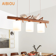 AIBIOU Modern LED Pendant Lights With Glass Lampshade For Dining Room Birds Decoration Lamp E27 Hanging Kitchen Lighting