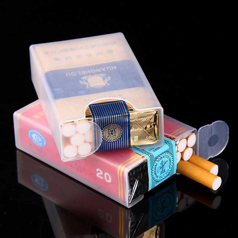 Caja de cigarrillos portátil transparente caja cigarrillos plástico 2 uds encendedor de humo anti-presión encendedores accesorios para fumar