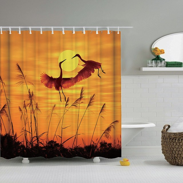 Dafield sunset shower curtain african animals  elephant black shadow bathroom shower curtains waterproof fabric