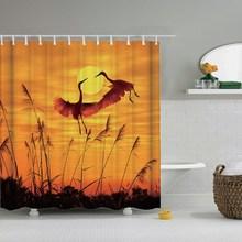 Dafield 일몰 샤워 커튼 아프리카 동물 코끼리 검은 그림자 욕실 샤워 커튼 방수 패브릭