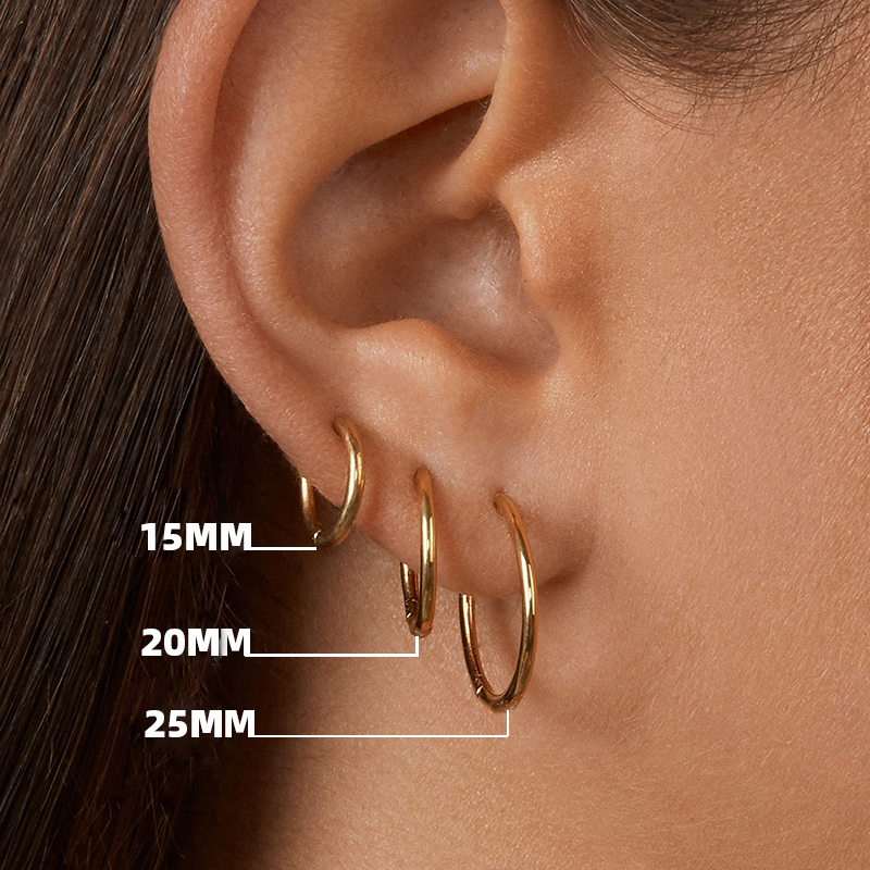 Gold Color Small Hoop Earrings Stainless Steel Circle Round Huggies For Women Men 2020 Ear Ring Bone Buckle Fashion Jewelry 25MM