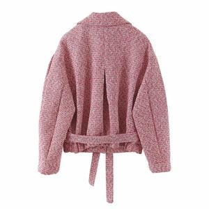 Image 3 - 2019 레트로 여성 믹스 컬러 소프트 모직 체크 무늬 자켓 벨트 하이 웨이스트 라인 미니 짧은 반바지 긴 소매 코트 2 개 세트