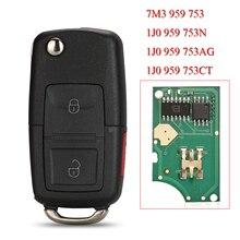 Kutery Remote Smart Auto Schlüssel Für Volkswagen VW Passat Golf MK4 Bora Polo 2 Tasten 433MHZ ID48 7M3959753 1J 0 959 753N/753AG/753CT