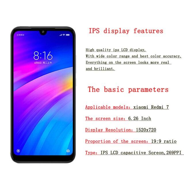 """6.26 """"Cal oryginalny dla xiaomi Redmi 7 wyświetlacz w telefonie komórkowym LCDs rama Digitizer montaż części xiaomi redmi 7 lcd pantalla"""