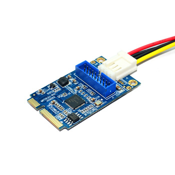MINI PCIE to USB 3.0 Adapter Card 4Pin Power Connector MINI PCI-E to 19pin USB Front Panel 2 Ports USB 3.0 Expansion Card Riser
