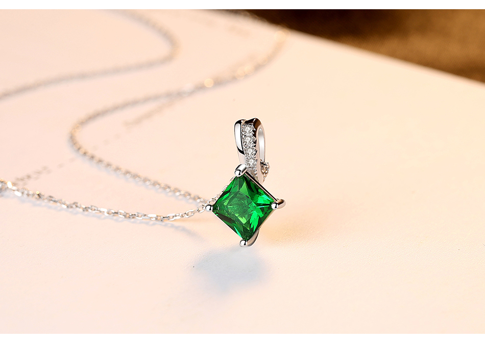 Hdccf93c48d94445ea2307bc6281dfe64E CZCITY Charm Chain Necklace Emerald Green Cubic Zirconia Popular Jewelry 925 Sterling Silver Pendant Necklace for Women Gift