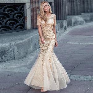 Image 1 - Plus Size Saudi Arabia Prom Dresses 2020 Ever Pretty EZ07707 Short Sleeve Lace Appliques Tulle Mermaid Long Dress Party Gowns