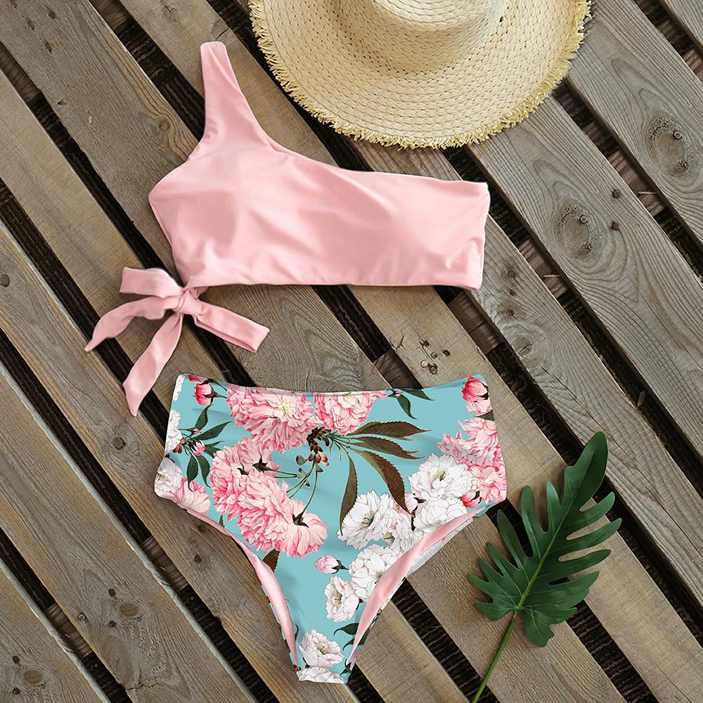 Sexy Bikinis Women 2021 New One Shoulder Swimwear High Waist Swimsuit Bandage Bathing Suits Beach Wear Biquini Female