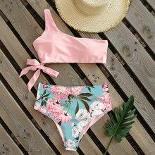Bikinis sexys de un hombro para mujer, traje de baño de cintura alta, trajes de baño de estilo vendaje, ropa de playa para mujer 2021