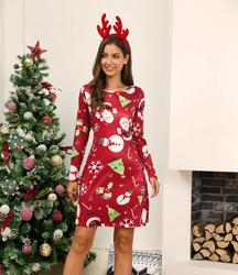 Winter Christmas Dresses Women Print Cartoon Dress Long Sleeve Casual Plus Size Midi Party Dresses Vestidos Robe 2