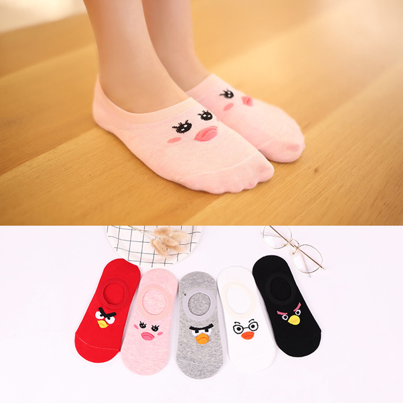 5 Pairs Women Cotton Non Slip No Show Sock Slippers Female Cute Cartoon Bird Funny Invisible Breathable Shallow Mouth Boat Socks