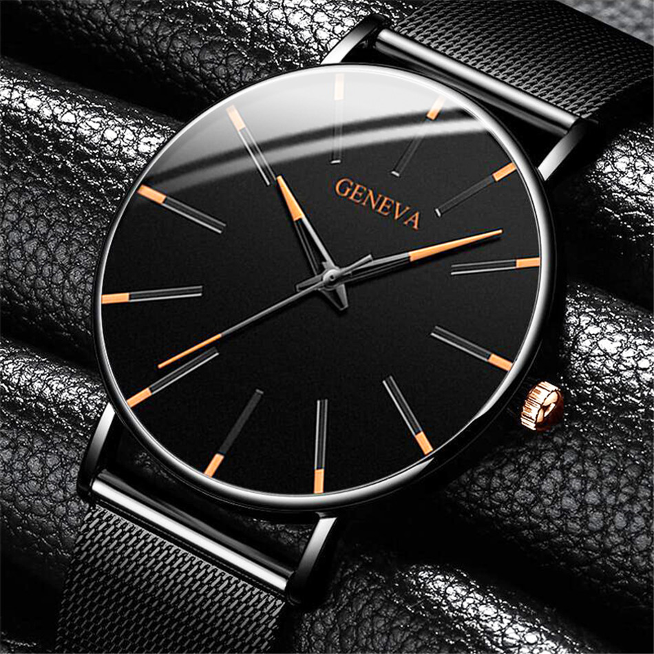 Hdccfc153e8394b6190c300d37fa6c36d0 2020 Minimalist Men's Fashion Ultra Thin Watches Simple Men Business Stainless Steel Mesh Belt Quartz Watch Relogio Masculino
