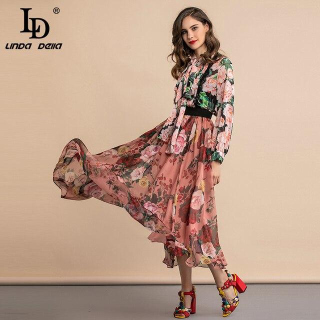 LD LINDA DELLA automne mode Blouses élégantes femmes col papillon plissé dentelle imprimé fleuri Vintage chemise vacances décontracté hauts