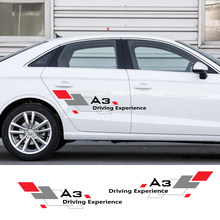 2 sztuk samochodów naklejki boczne drzwi naklejka dekoracyjna dla Audi A4 B5 B6 B7 B8 A3 8P 8V 8L A5 A6 C6 C5 C7 4F A1 A7 A8 Q1 Q3 Q5 Q7 TT akcesoria