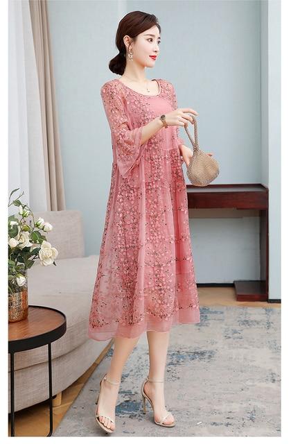 ZUOMAN New Spring Plus Size 4xl Dress Summer Female Silk Dress Female Embroidery Long Vestidos Robes Plus 6