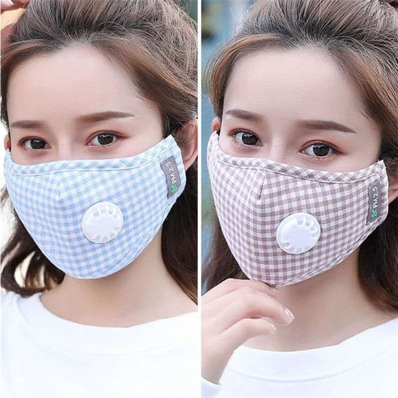 Cotton PM2.5 Plaid Mouth Mask Anti Haze Anti-dust Mask Activated Carbon Filter Respirator Bacteria Proof Flu Face Masks 2020