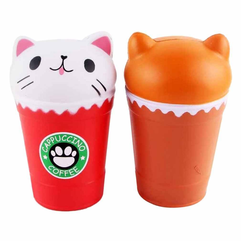 Kawaii copo de café cabeça de gato brinquedos perfumados prático lento subindo brinquedos de aperto anti-strss melhor presente stress reliever brinquedos brinquedo mole