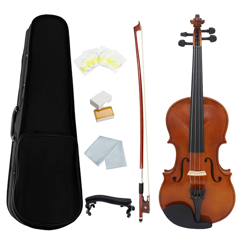 1/4 Violin Natural Acoustic Solid Wood Spruce Flame Maple Veneer Violin Fiddle with Case Rosin Bow Strings Shoulder Rest