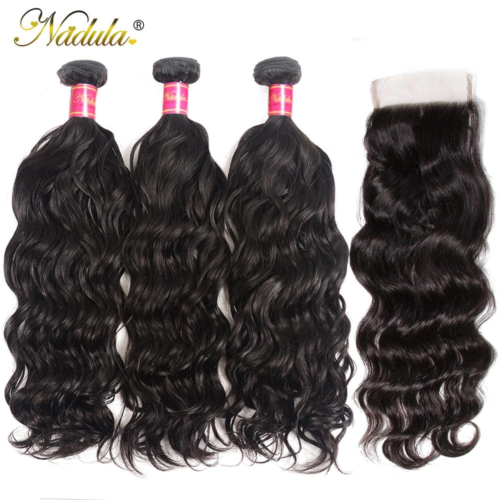 Nadula Hair 3pcs/lot Brazilian Natural Wave Closure 4*4 Free Part Lace Closure With 3 Bundles Human Hair Weaves Free Shipping