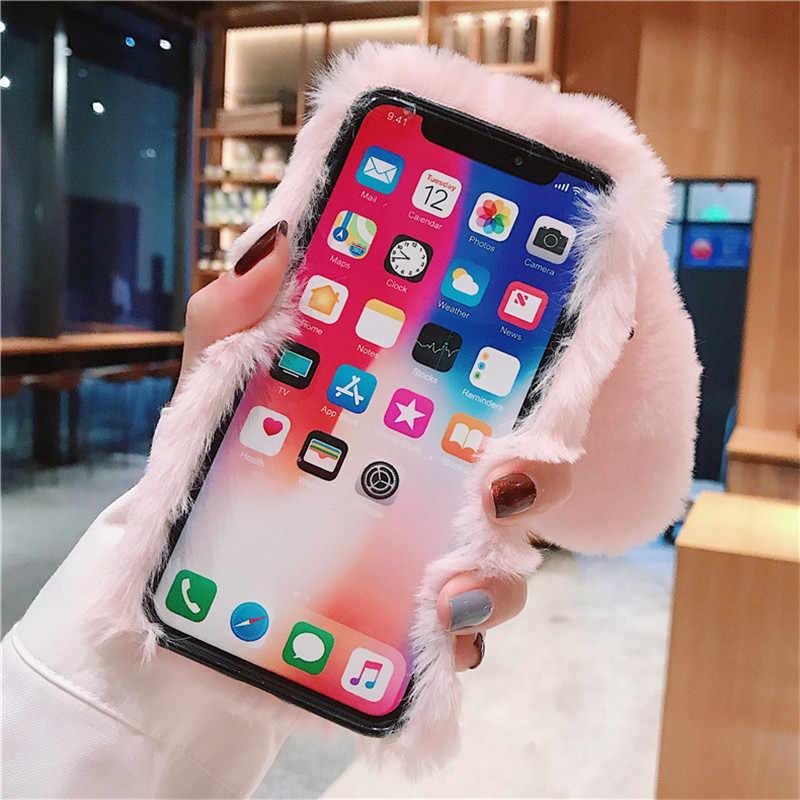 Voor Huawei Honor 6C Case 5.0inch Pluche Warme Konijnenoren Case Voor Huawei Nova Smart/Honor 6C 6 C C6 Cover Soft Silicone Coque