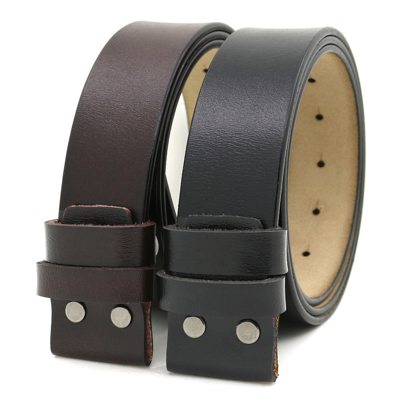 LannyQveen Mens Belt Pure Cowhide Belt Strap 3.8CM No Buckle Genuine Leather Belts With Holes High Quality