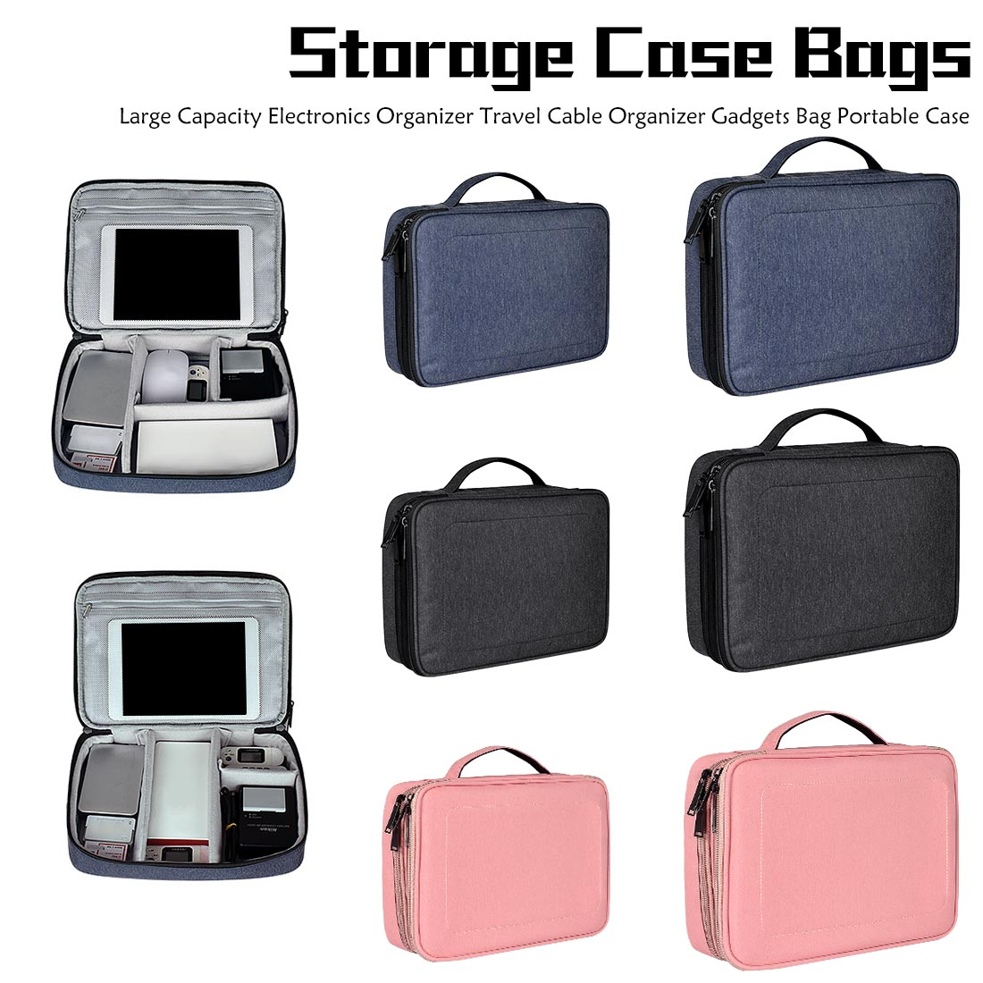 Digital Accessories Storage Bag Travel Cable Organizer Gadgets Bag Portable Case Large Capacity Electronics Organizer
