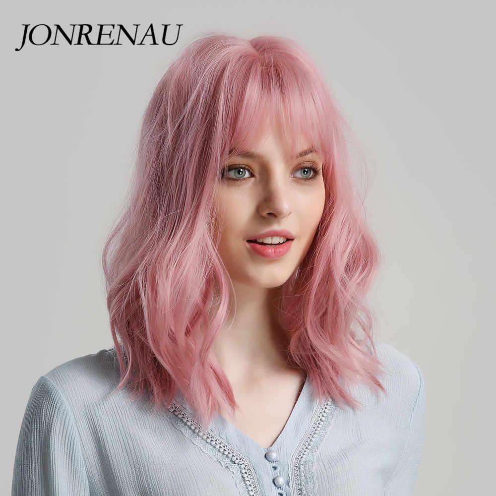 Pelucas sintéticas JONRENAU de alta calidad de pelo corto Natural ondulado con flequillo limpio para mujeres Rosa Beige marrón 3 colores para elegir