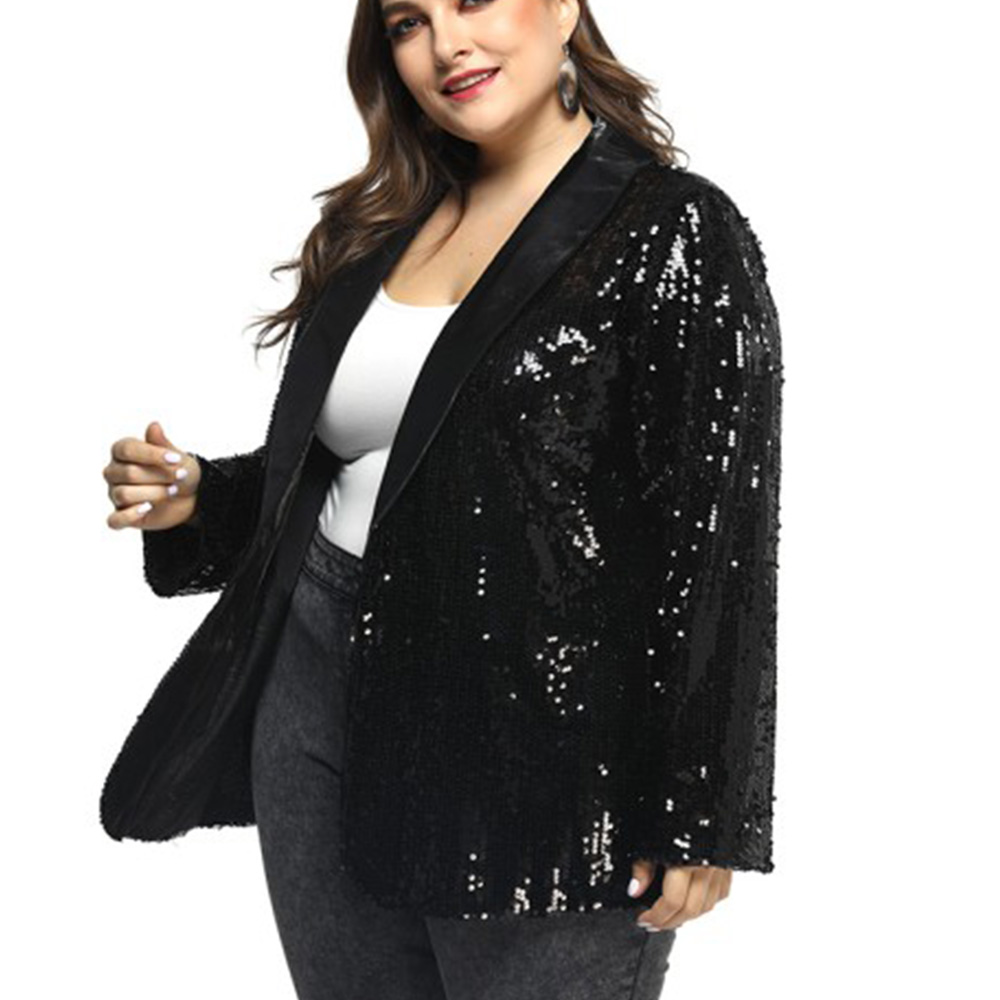 5XL Bling Bling Sequins Blazer Feminino Autumn Women Jacket Plus Size Black Shiny Party Blazer Mujer Casual Streetwear Blaser 25