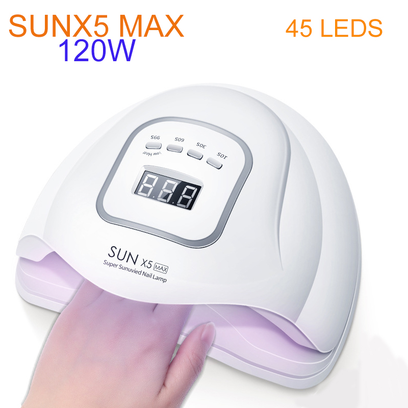 SUNX5 MAX 120W UV LED Nail Lamp With 45 Leds For All Gels Polish Sun Light Lamp Manicure Nail Dryer Drying Smart LCD Display