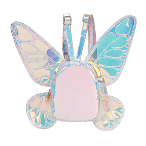 Image 3 - אופנה נשים של לייזר הולוגרפית עור מיני תרמיל פרפר מלאך כנפי Daypack עבור בנות נסיעות מקרית ספר Daypack תיק
