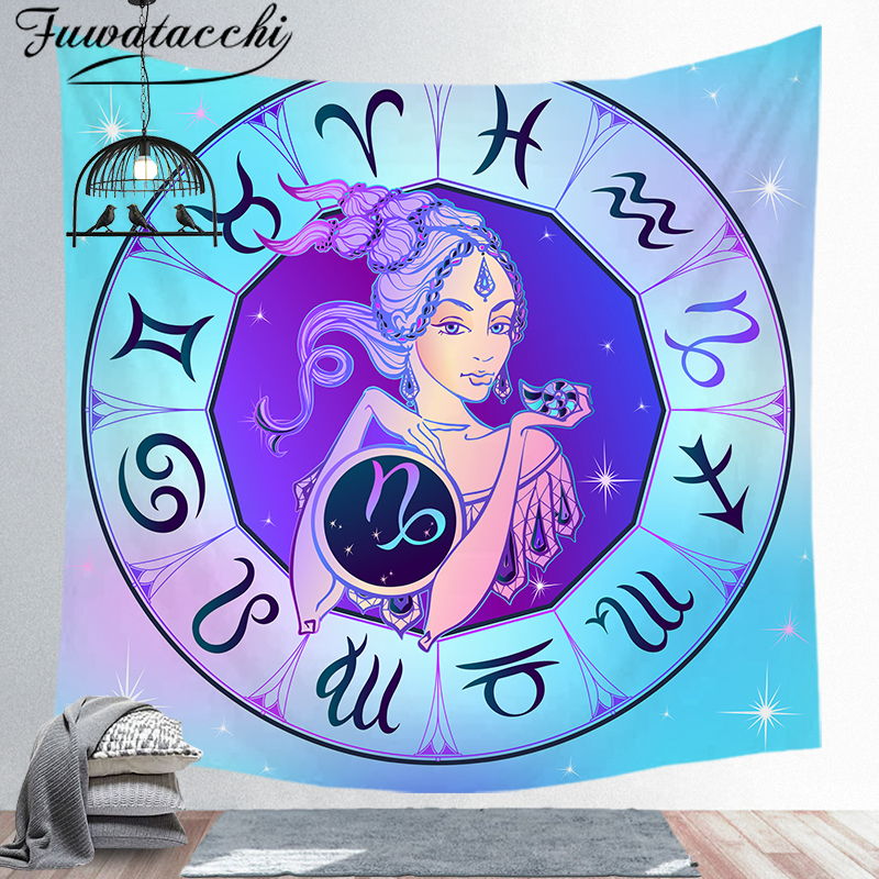 Fuwatacchi Constellations Tapestry Libra Capricorn Leo Aries Virgo Decorative Tapestries Wall Background Art Tapestry Wholesale(China)