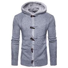 Зимний новый модный однотонный мужской трикотажный кардиган
