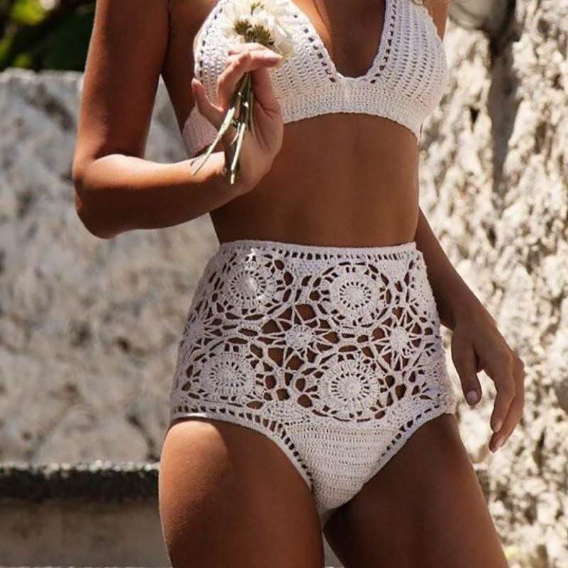 High Waist Bikini Plus Size Bottoms Thong Womens 2020 Crochet Flower Hollow Out Swimsuit Shorts Brazilian Bikini Swimwear