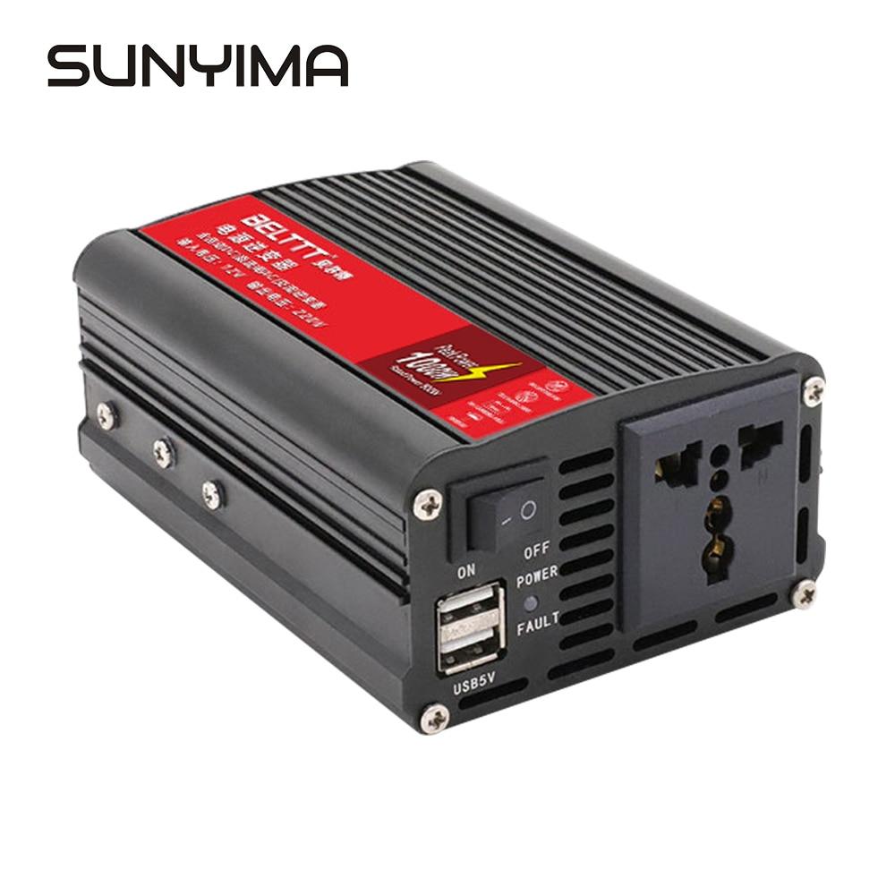 SUNYIMA zmodyfikowany falownik sinusoidalny 12V/24V do AC 220V 1000W transformator napięcia podwójna lampa LED wyświetlacz przełącznik konwerter zasilania Booster