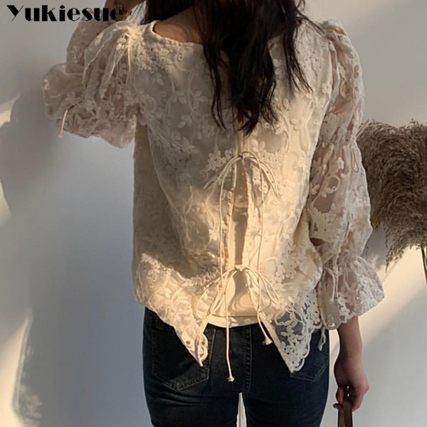 Spring Autumn New Girl Chiffon shirt Fashion embroidered lace Tops Elegant Flare sleeve Casual Women blouse Blusa womens blouses 5