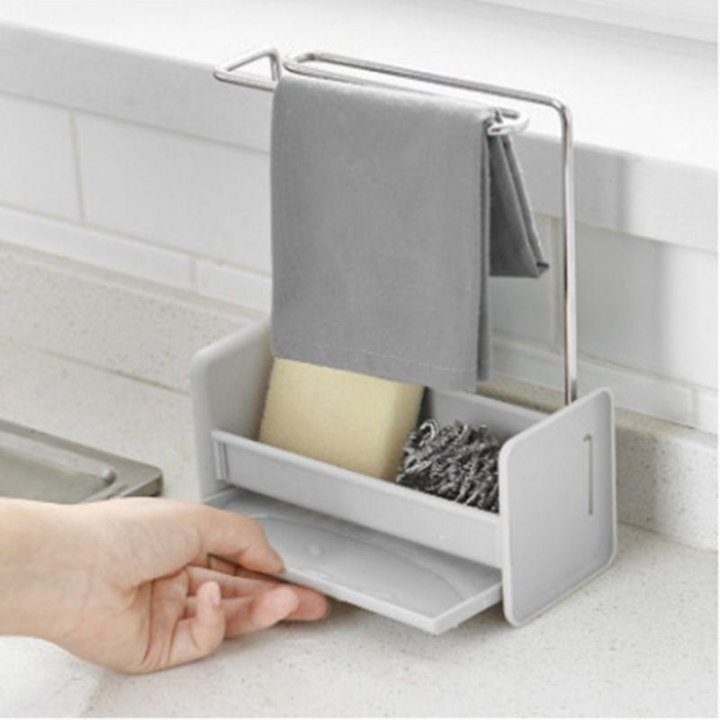 Kitchen Sponge Holder Sink Cleaning Brush Soap Rack Drain Tray Rag Hanging Shelf