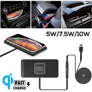 Image 2 - QI auto draadloze oplader Pad Voor iPhone XR XS snel Opladen Dock Station Dashboard Houder Voor samsung iphone 8 11 pro xiaomi