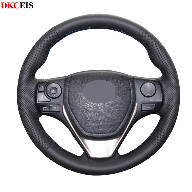 Black Soft Artificial Leather Car Steering Wheel Cover for Toyota Corolla 2014 2019 RAV4 2013 2019 Auris 2013 2016 Scion iM 2016|Steering Covers| |  - title=