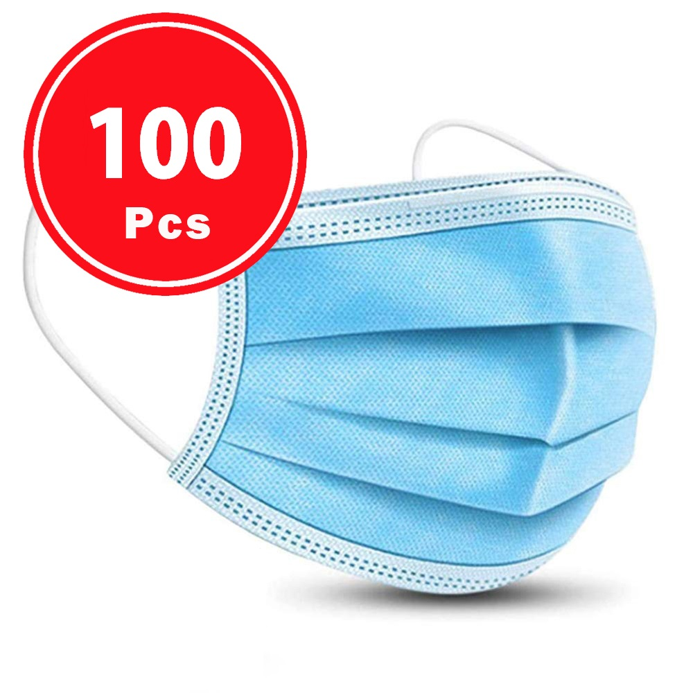 Ship In 24 Hours 100Pcs Quality Protection Anti Dust Face Mask Respirator Disposable Mouth Masks 3 Layer Earloop Masks For Adult