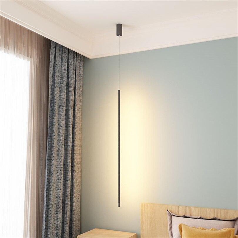 Nordic Moderne Slaapkamer Bed LED Hanglampen Minimalistische Woonkamer Hanglamp Lijn Licht Creatieve Sfeer Opknoping Lamp