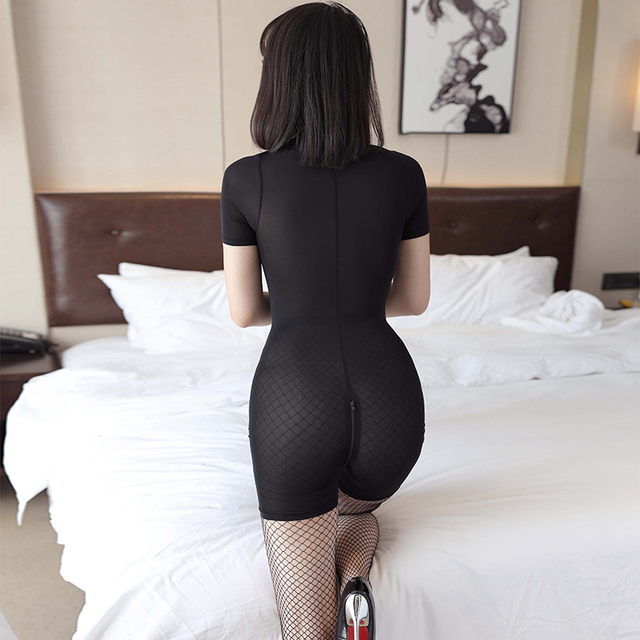 See through Sexy Women Zipper Open Crotch Bust High Cut Bodysuits Ice Silk Smooth Shiny Playsuit Jumpsuit Shaping Dance Wear 5