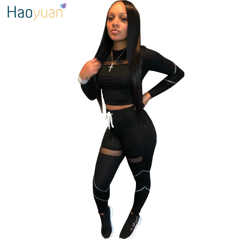 HAOYUAN  Sexy Mesh Splice Tracksuit Women Two Piece Outfits Sports Fitness Crop Top And High Waist Pant Sweatsuit Matching Sets