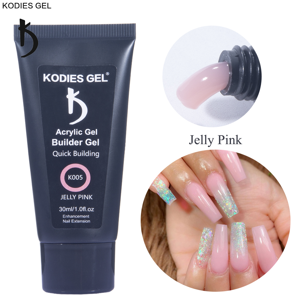 KODIES GEL Hot Jelly Poly Nail Gel Polish 30ML UV Opal Pink Acrylic Builder Gel Camouflage Varnish for Finger Nail Art Extension