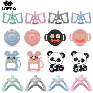 Hot Sale 1PC Silicone Teether Toys Necklace Accessories Infant Chew Toys Panda Raccoon liquid Ice Cream DIY Baby Teething(China)