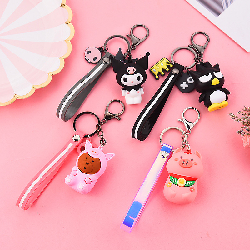 Cartoon Anime Pendants with Keychain Cute bag pendants Pig Bear Comet Dolls Action Figure Model Children Toys Birthday gifts image