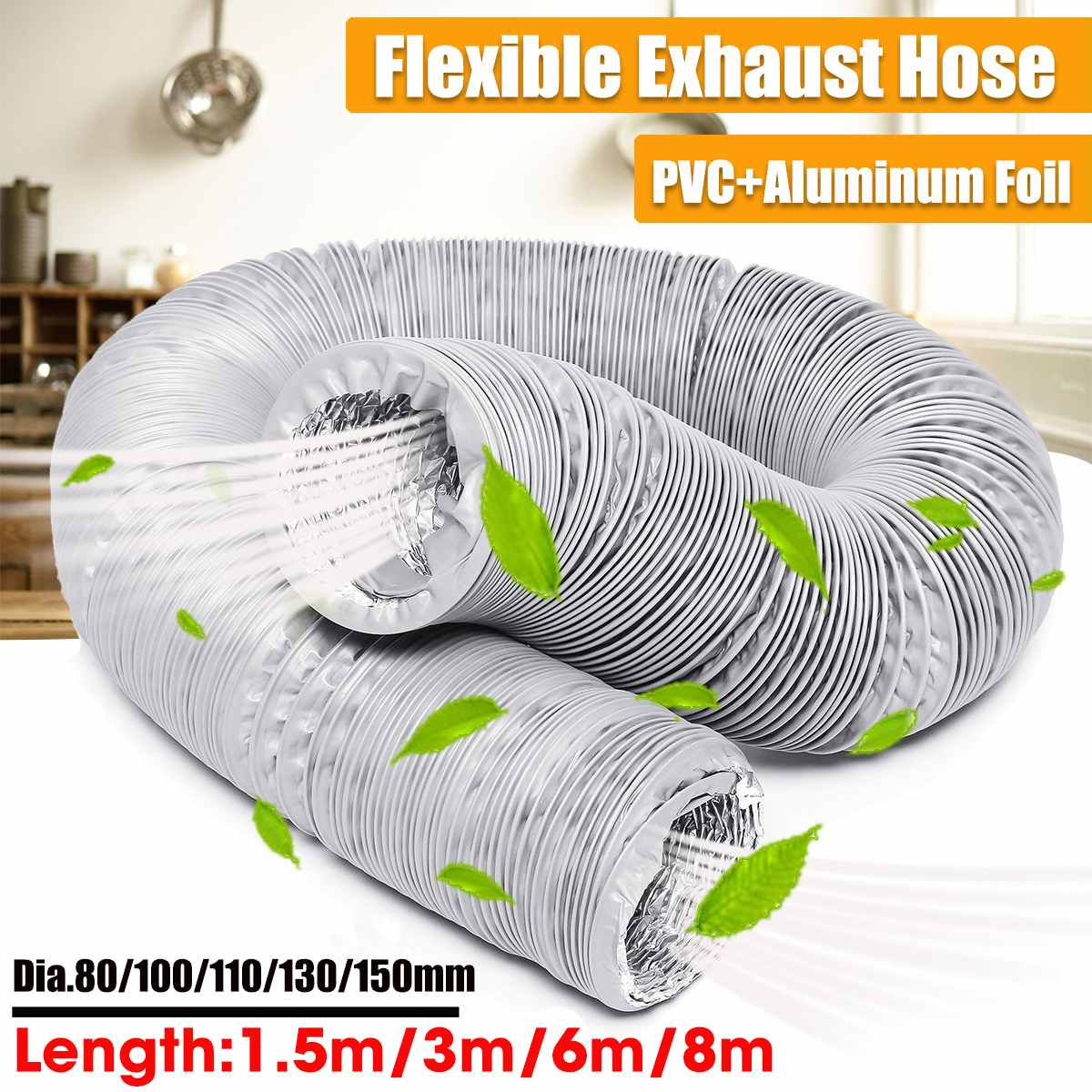 Flexible Air Conditioner Exhaust Pipe Vent Hose Outlet 80mm/100mm/110mm/130mm/150mm Portable Air Conditioner Exhaust Vent Pipe