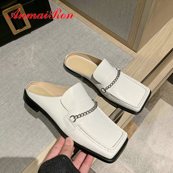 ANMAIRON Mature Square Toe Sewing Women Shoes Genuine Leather Spring/Autumn Outside Metal Decoration Square Heel Women Slippers