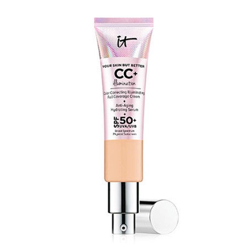 Face Concealer It Cosmetics CC+ Cream Illumination SPF 50 Full Cover Light Medium Hide Blemish Corrector Skin Makeup