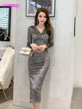 2020 autumn/winter new femininity v collared glides slim long-sleeved tight bag hip dress Office Lady  Polyester women s fashionable collared short sleeved dacron dress w belt deep blue xl